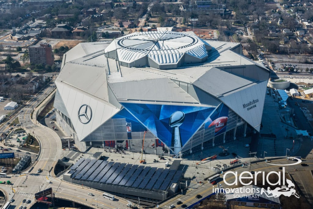 Aerial image of Mercedes-Benz Stadium during Super Bowl 53 - Aerial Innovations Southeast